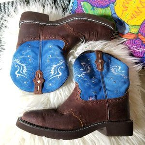 blue suede brown leather gypsy cowgirl boots w box